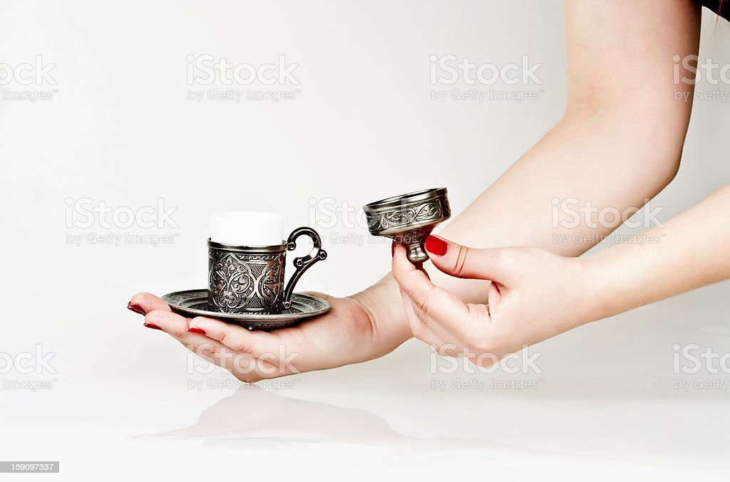 Turkish coffee cup in hand royalty-free stock photo