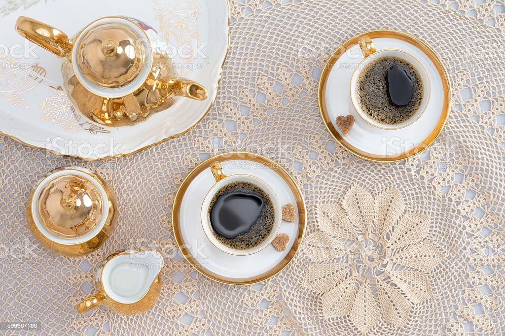 Turkish Coffee for Two on Elegant White Table