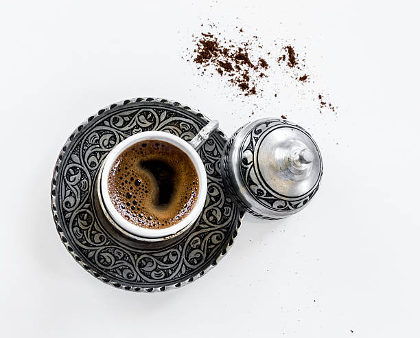 Turkish Coffee in a copper cup stock photo