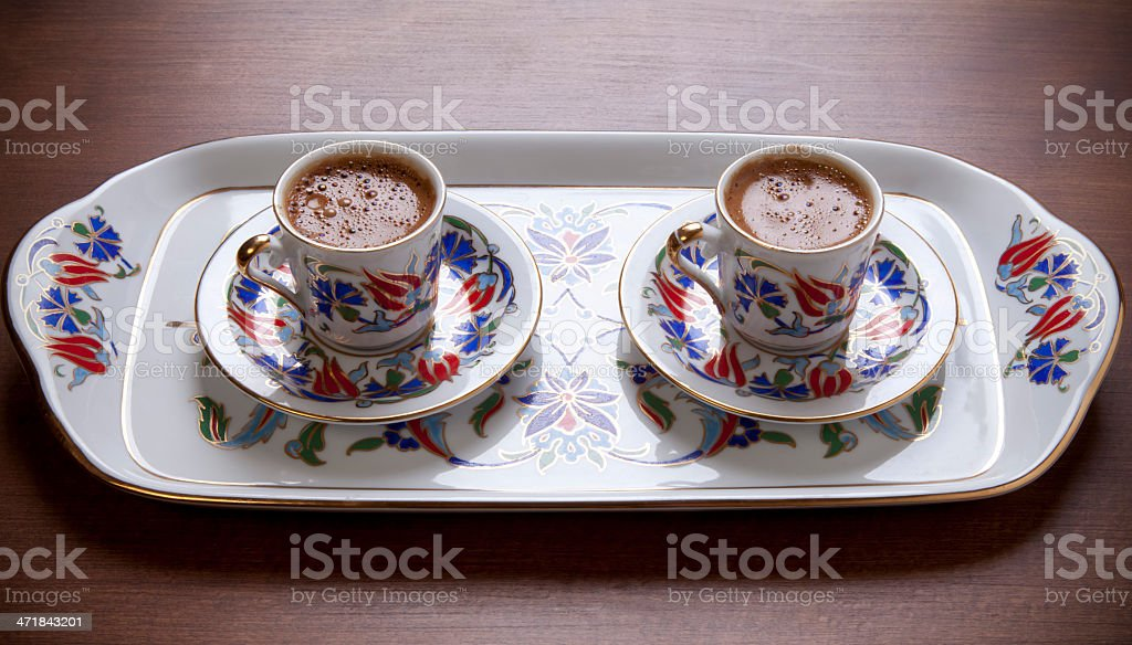 Turkish coffee in tray royalty-free stock photo