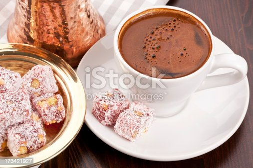 close up Turkish Coffee with traditional service
