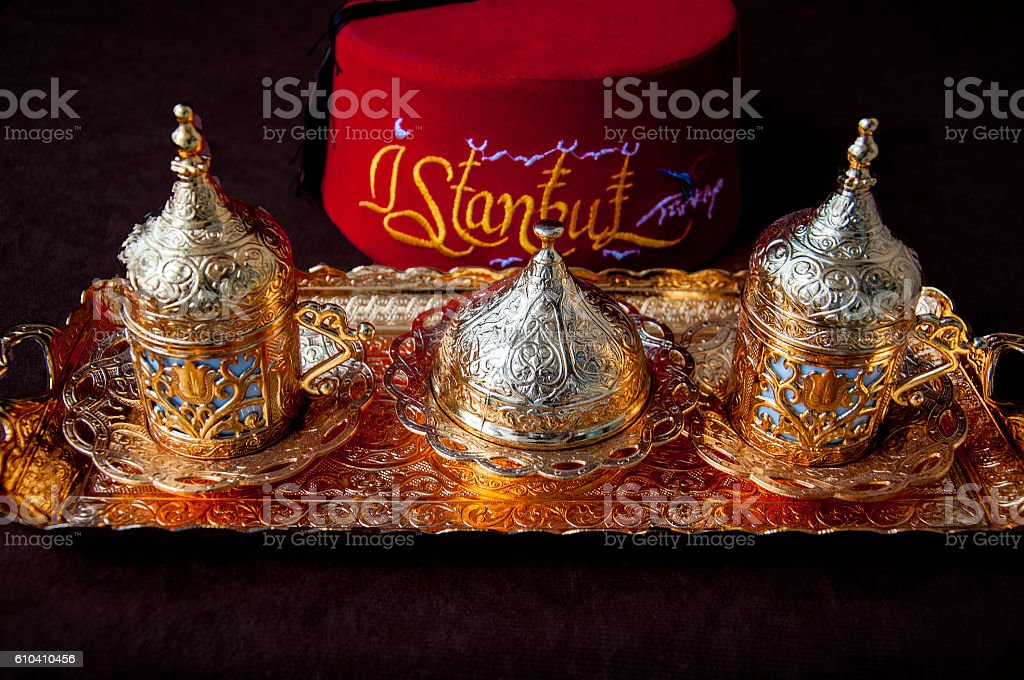 Turkish coffee set with Turkish line on the background stock photo