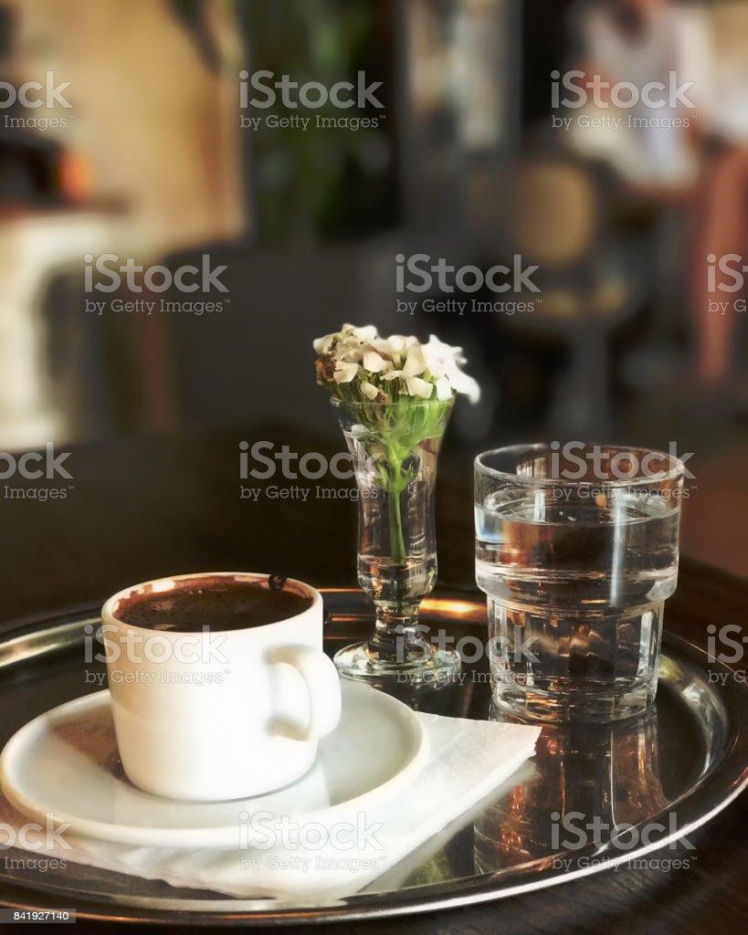 Turkish coffee with good presentation stock photo
