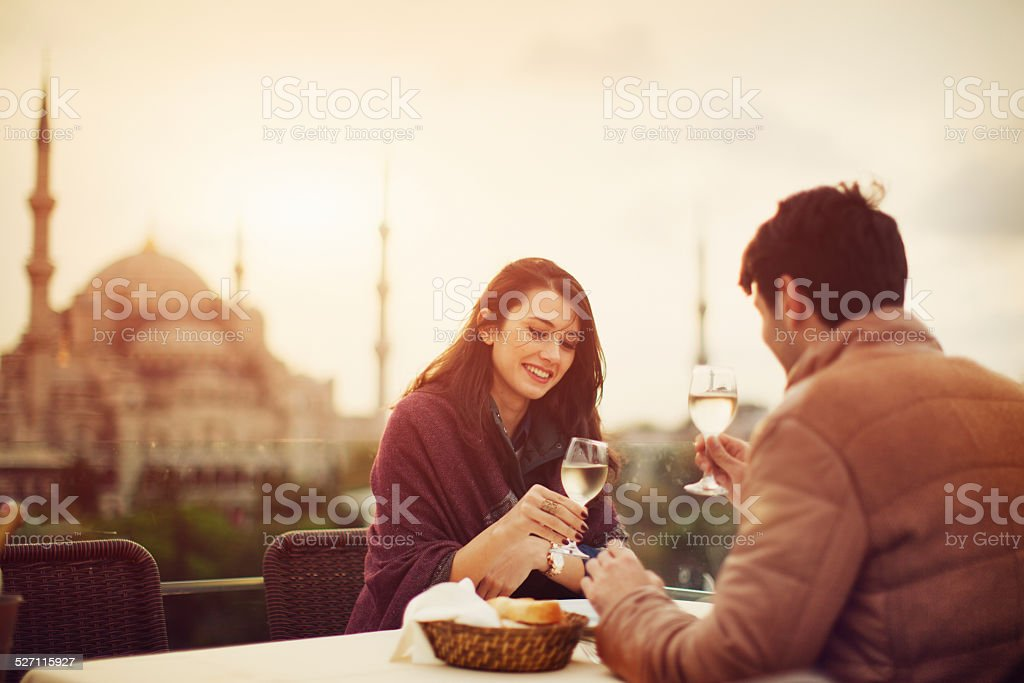 Turkish Couple in Cafe stock photo