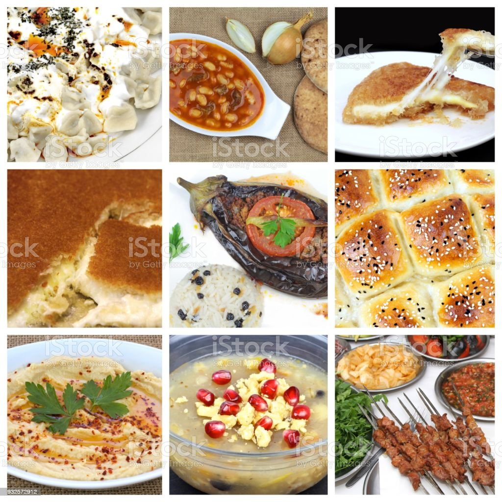 Turkish cuisine. Various meal and sweets stock photo