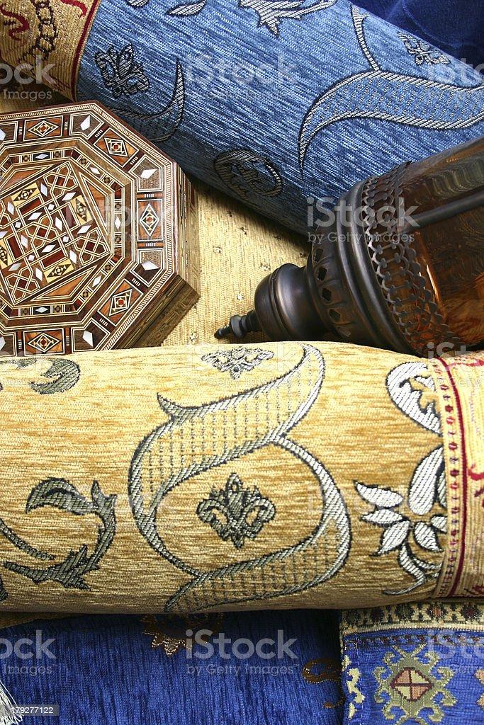 Turkish cushions and lamp royalty-free stock photo