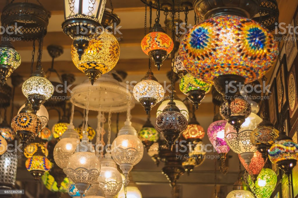 Turkish Decorative Lamps For Sale In Souvenir Shop Window Royalty Free Stock Photo