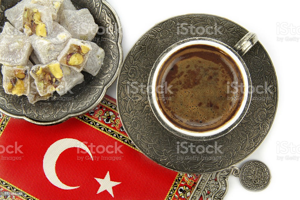Turkish delight and coffee on white background royalty-free stock photo