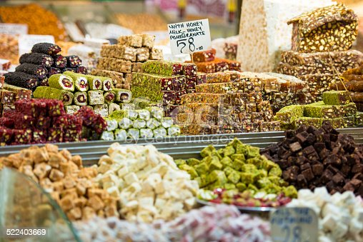 A lot of different organic, turkish delight sweets, made of honey.