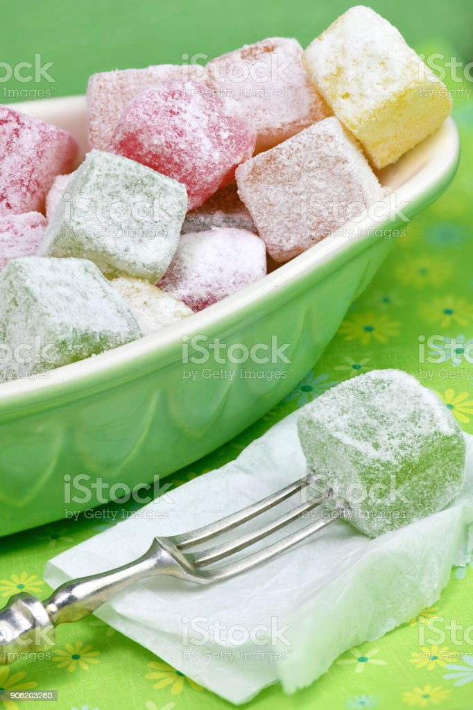 Turkish delights in vibrant colors stock photo
