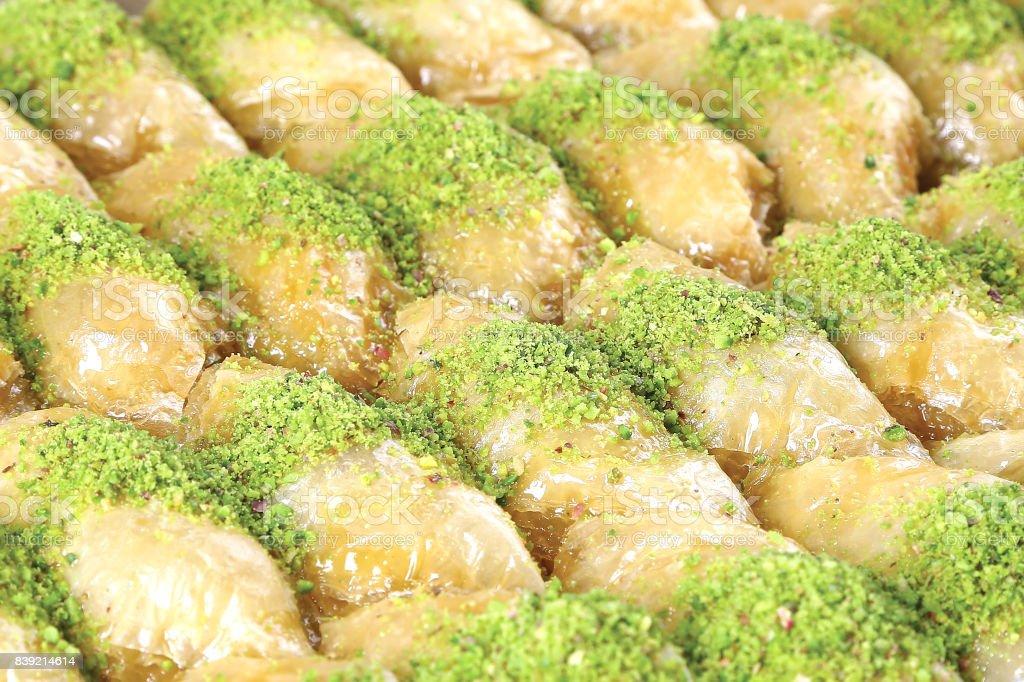 Turkisches Dessert Sutlu Nuriye Mit Pistazien Stock Fotografie Und