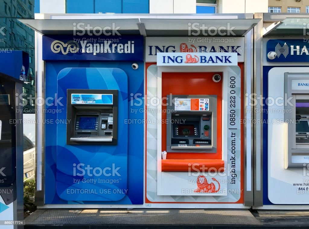 Turkish different bank ATM in Gayrettepe Distirict. stock photo