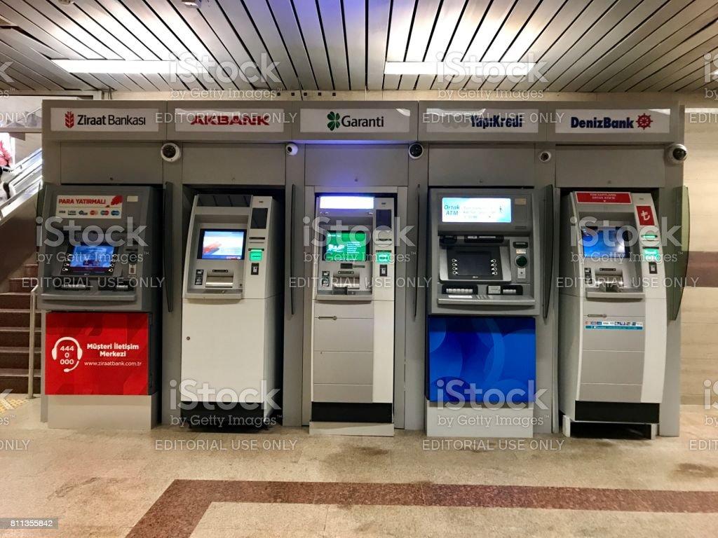 Turkish different bank ATM in Taksim Metro subway