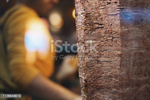 Cook Preparing a Turkish Doner Kebab