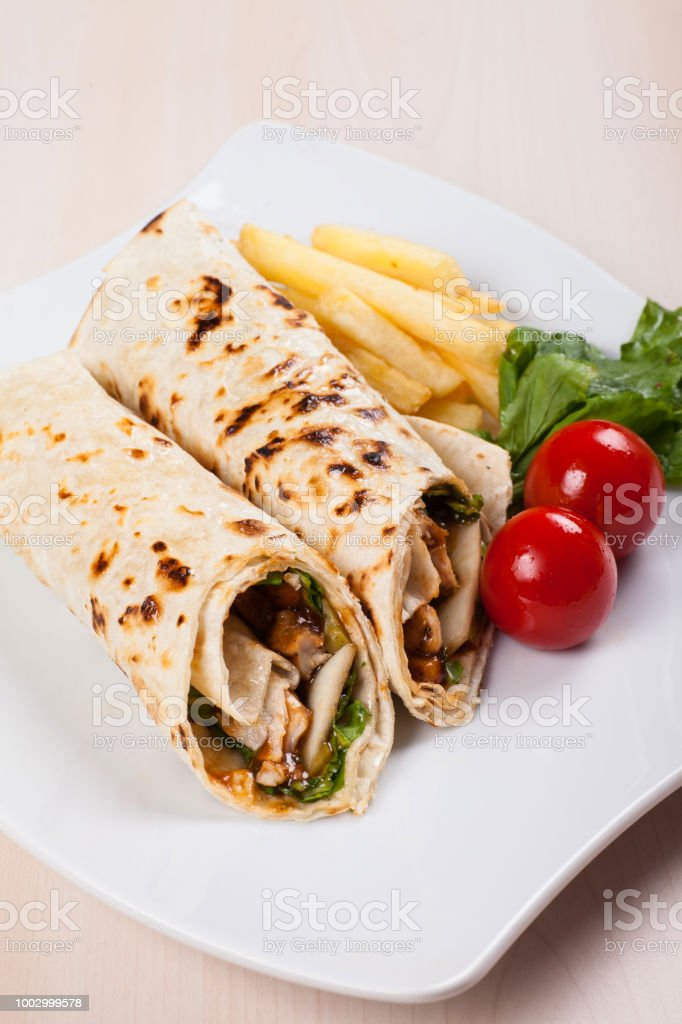 Turkish Doner Kebab Shawarma Roll With Meat And Pita Bread Stock Photo Download Image Now Istock