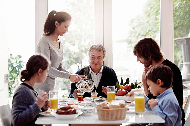 Turkish family having breakfast stock photo