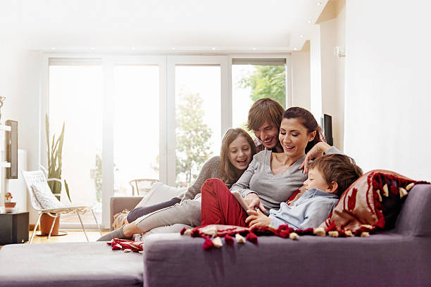 turkish family taking selfie - family room stock photos and pictures