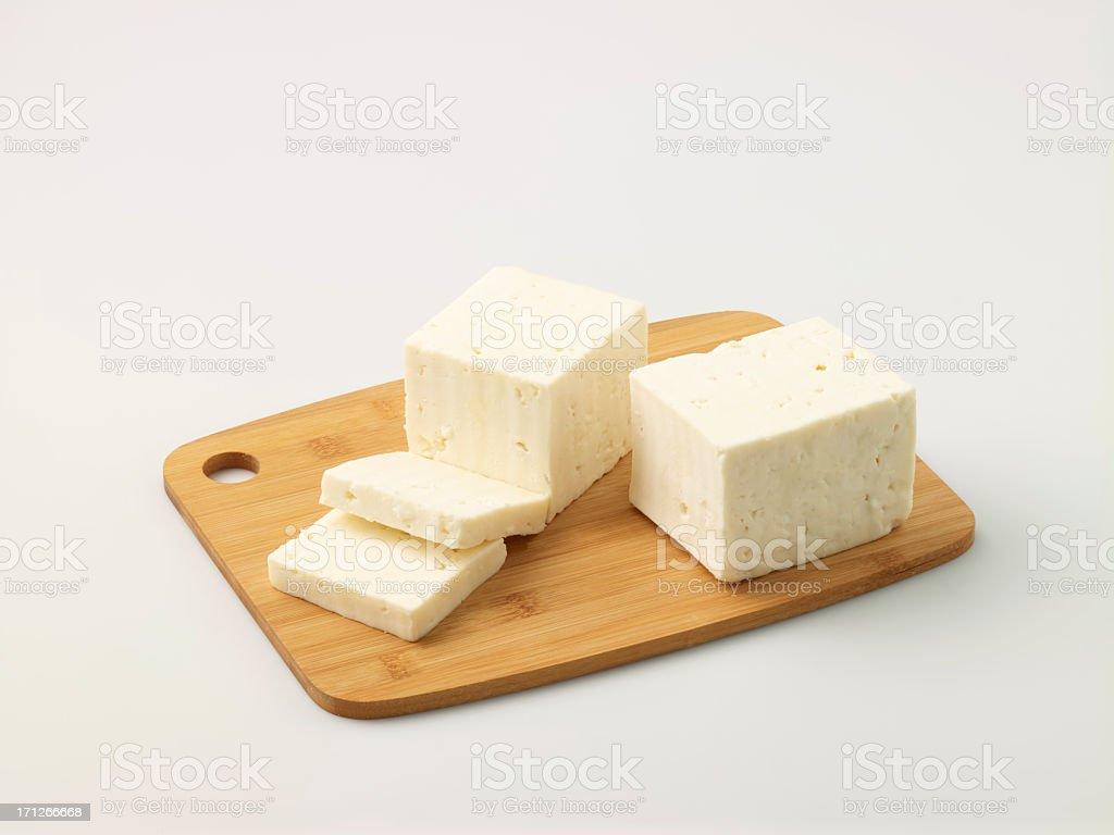 Turkish Feta Cheese On Chopping Board stock photo