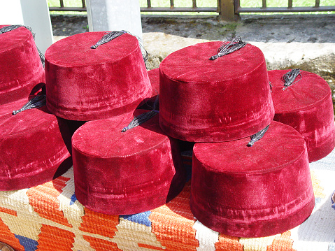 Turkish Fez For Sale On The Local Market Turkey Stock Photo