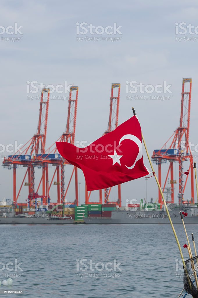 Turkish flag and harbor stock photo