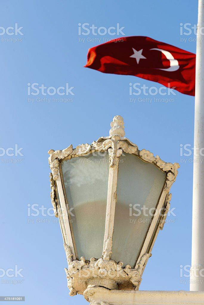 Turkish Flag and street lamp royalty-free stock photo