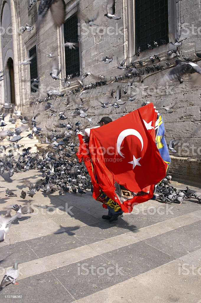 Turkish Flag in front of Pigeons royalty-free stock photo