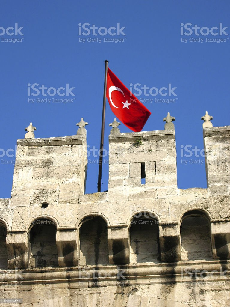 Turkish flag on Topkapi palace​​​ foto