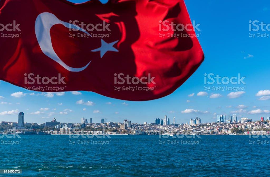 Turkish flag waving on republic day - Bosphorus Istanbul - foto stock