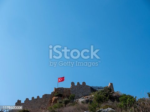 Turkish flag with castle in Turkey