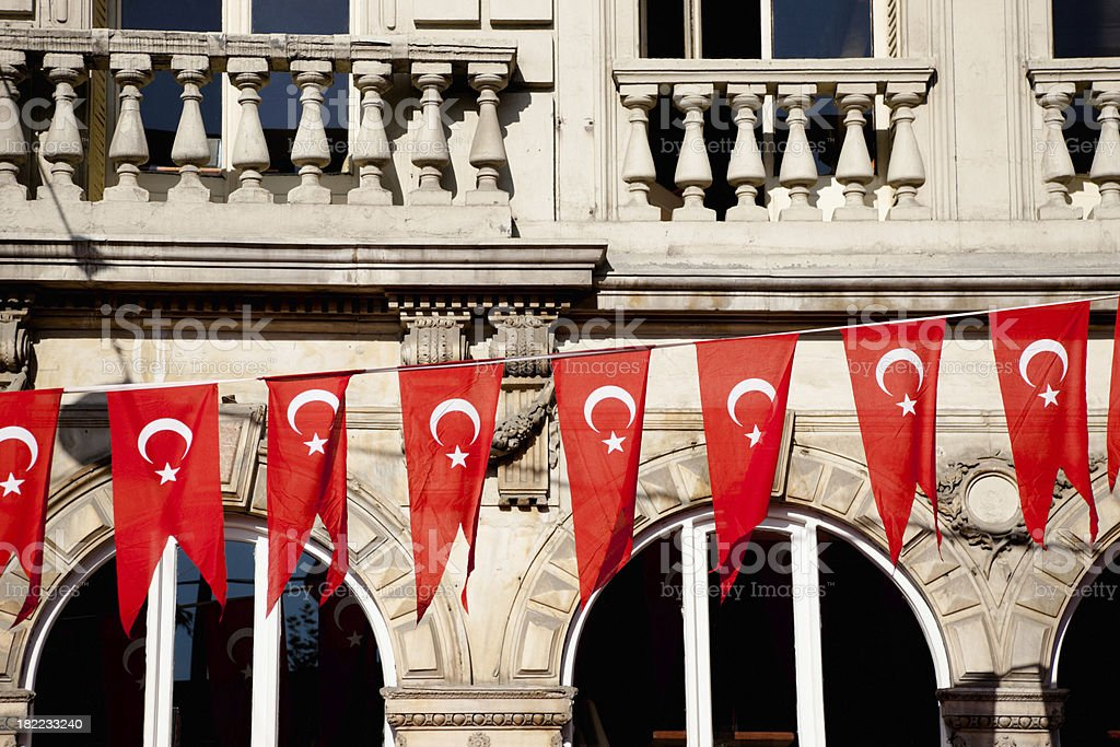 Turkish Flags Istanbul Turkey royalty-free stock photo