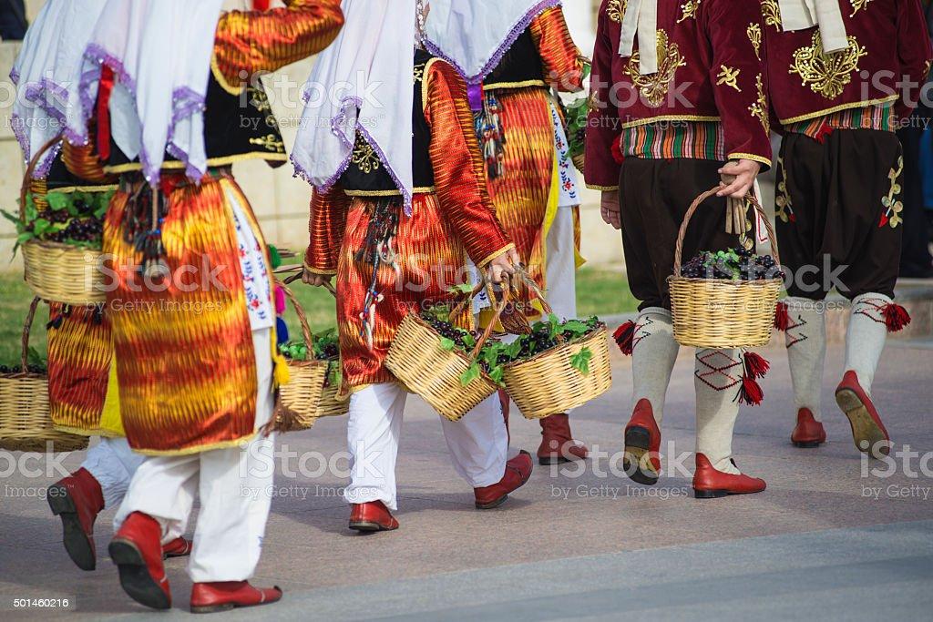 Turkish folk dance team stock photo