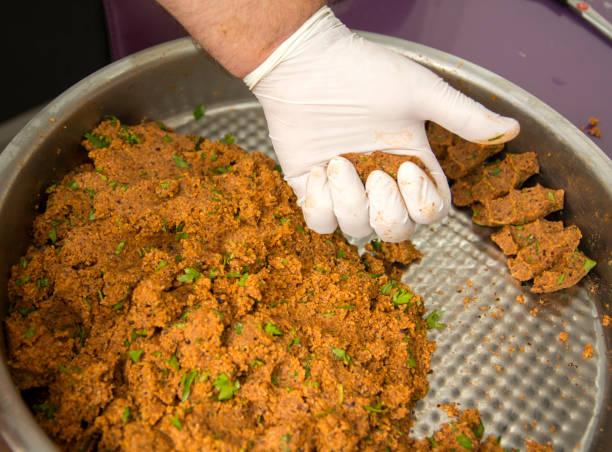 turkish food cig kofte stock photo