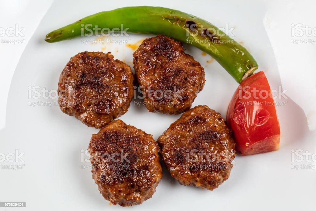 Türkisches Essen Köfte oder Kofta / Stack von Frikadellen mit Reis Pilav - Lizenzfrei Essen - Mund benutzen Stock-Foto