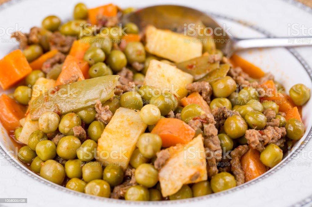 Turkish Food Meaty Green Pea Stew Stewed Meat Etli Bezelye