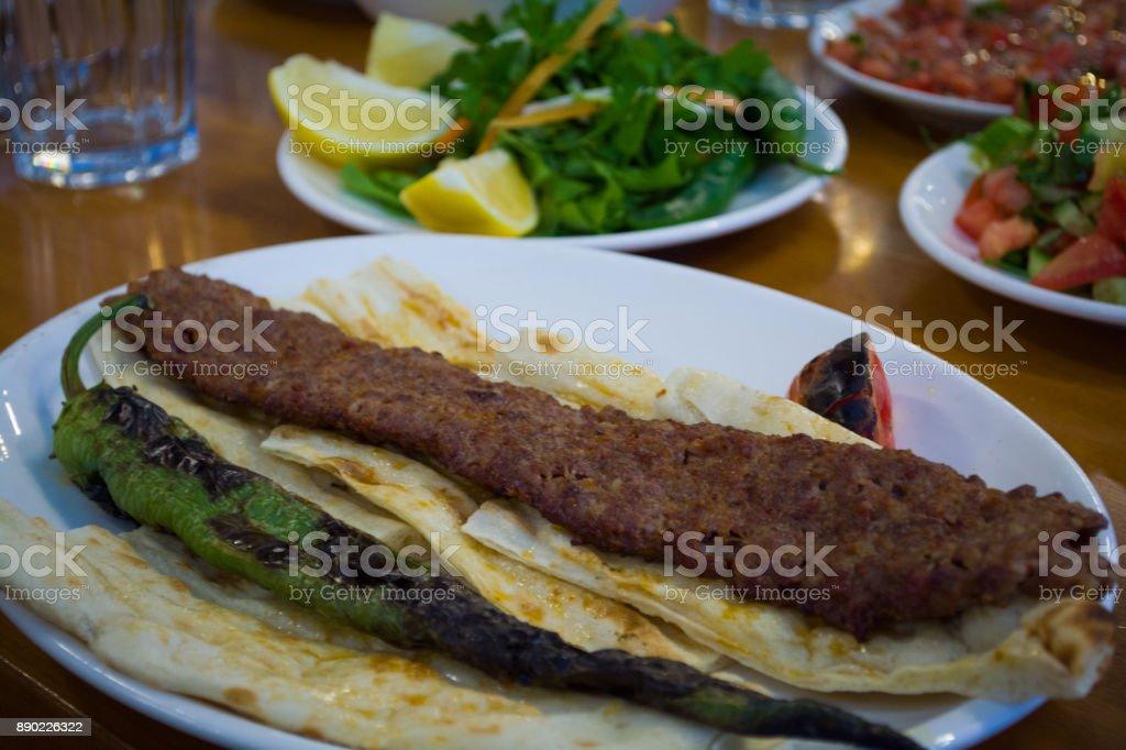 turkish foods adana kebab on the plate stock photo