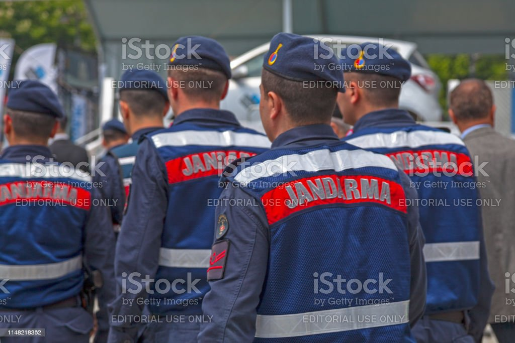 Turkish gendarmerie (Jandarma) Istanbul, Turkey - May 09 2019: Officers of the Jandarma (Gendarmerie) patroling the street. Adult Stock Photo