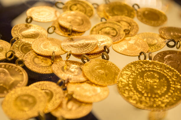 1/4 Turkish Gold coin necklace. stock photo