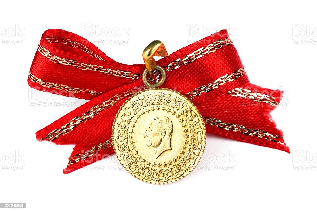 Turkish gold coin stock photo