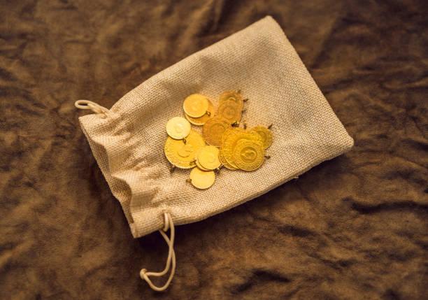 Turkish gold coins stock photo