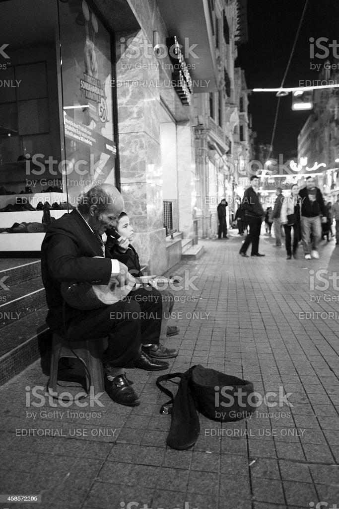 Turkish Grand Father and Son playing Music for donations, Istanbul stock photo