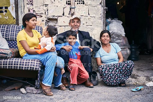 KAGITHANE GULTEPE, ISTANBUL, TURKEY - AUG. 2008: Group portrait of a poor Turkish (roman) gypsy family sitting on the street in front of their ruin shanty house. Editorial use only.