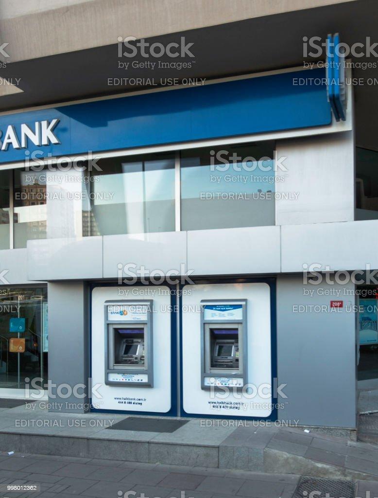 Turkish HalkBank Sirinevler Branch in İstanbul stock photo