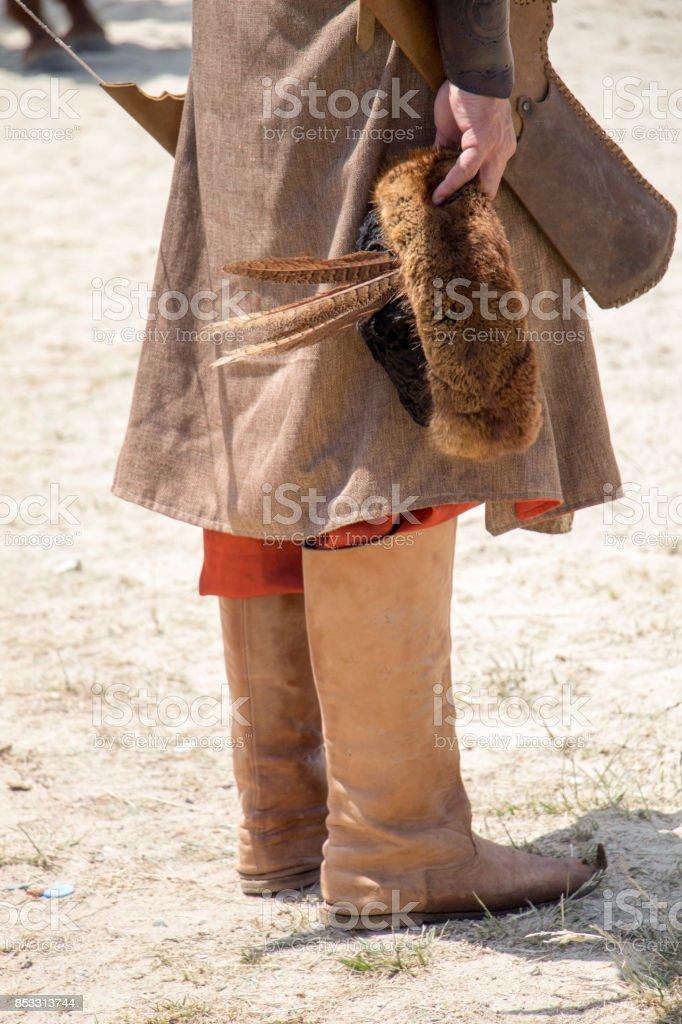 Turkish horseman  ethnic clothes examples stock photo