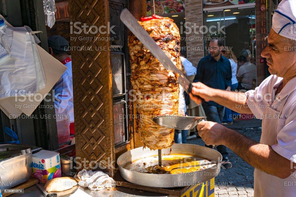 Turkish kebab chef, cook on Grand Bazaar stock photo