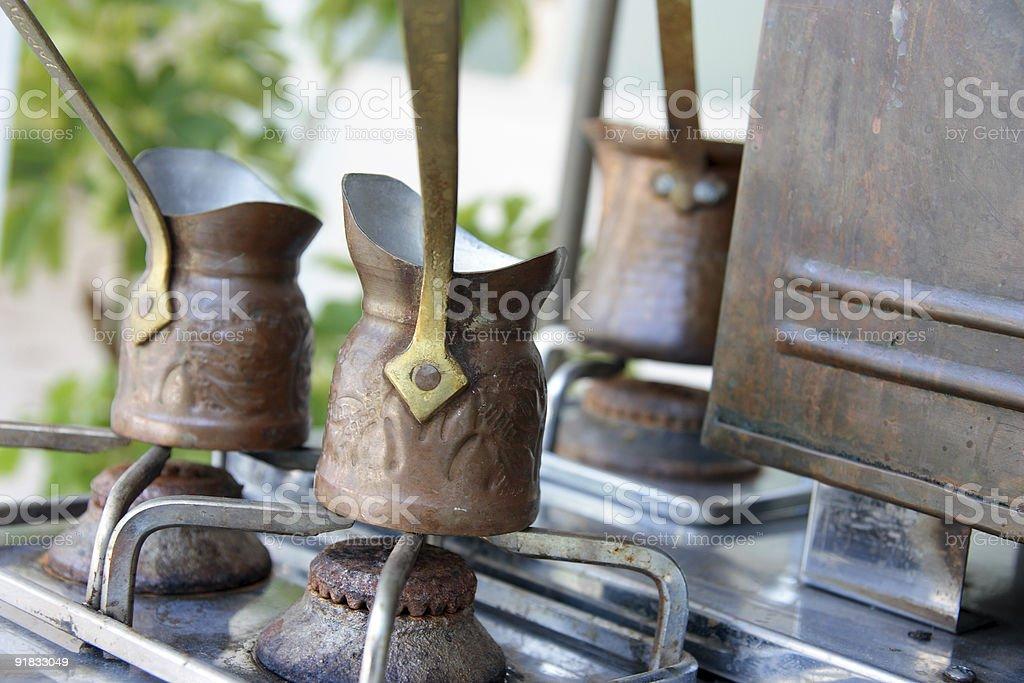 turkish kettle on the gas-stove stock photo