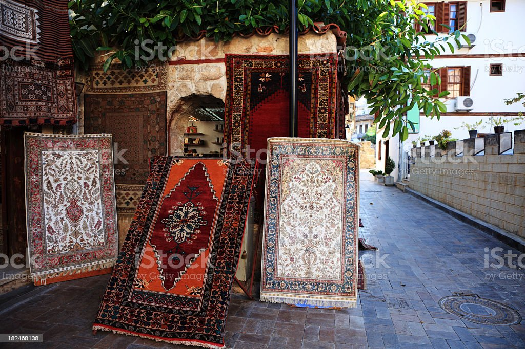 Turkish Kilim and Carpet Shop royalty-free stock photo