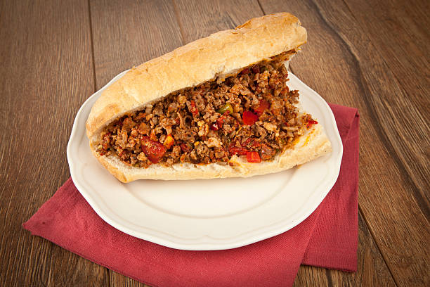 turkish kokorec - lamb intestine food sandwich with midye dolma - kokoreç bildbanksfoton och bilder