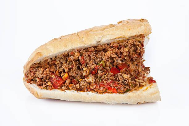 turkish kokorec - lamb intestine food sandwich with white background - kokoreç bildbanksfoton och bilder