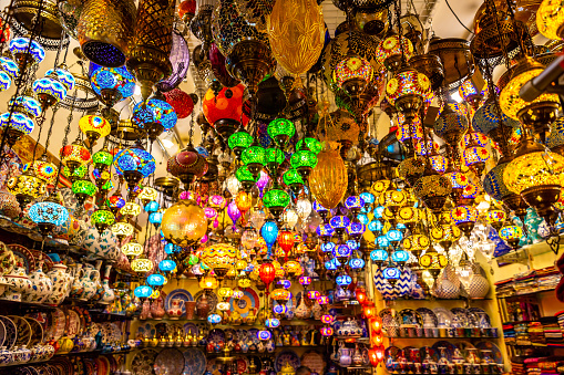 This pic shows beautiful and colorful turkish lamps and lanterns hanging in Grand bazaar in istanbul. The pic is taken in april 2019.