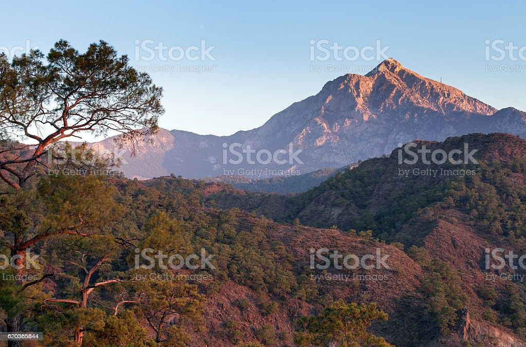 Turkish landscape with Olympos mountain, zbiór zdjęć royalty-free